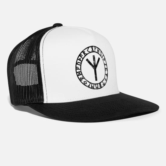 Viking Caps & Hats - Algiz Rune Circle Viking's Viking Pagan Symbol - Trucker Cap white/black