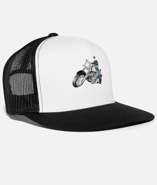 Motorcycle Caps & Hats - chopper - Trucker Cap white/black
