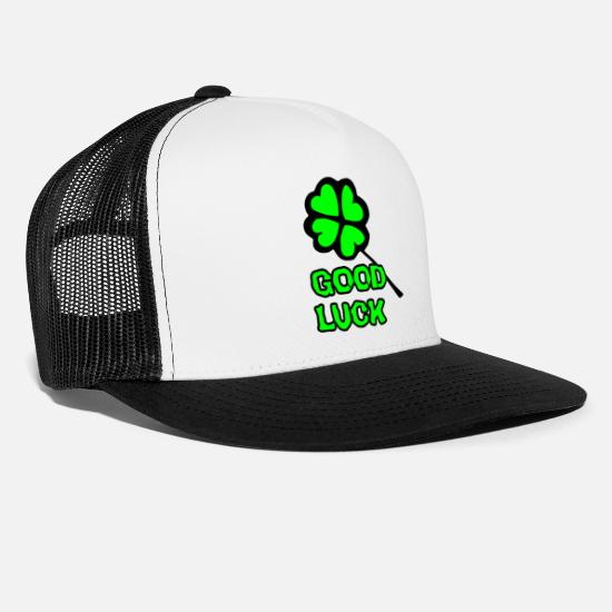 Shamrock Caps & Hats - good luck - Trucker Cap white/black