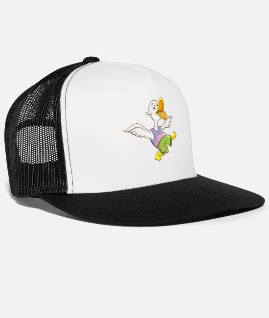 Water Caps & Hats - Funny duck shirt motif comic style - Trucker Cap white/black