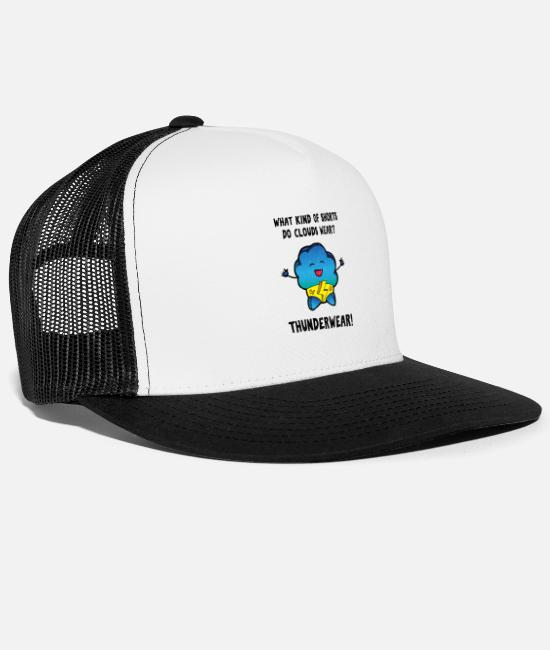 Rain Caps & Hats - Underwear pun meteorology design shirt - Trucker Cap white/black