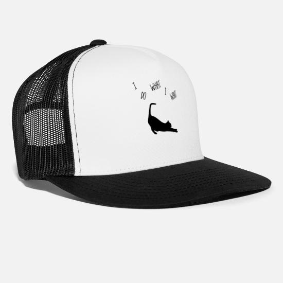 Funny Animals Caps & Hats - Funny cat Headstrong Humourous animal love - Trucker Cap white/black