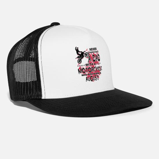 Birthday Caps & Hats - Motocross Motorcyle Dad Born In August Gift - Trucker Cap white/black