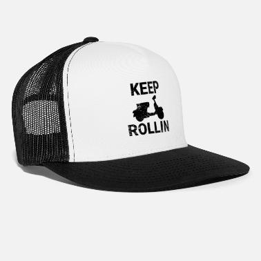 Scooters Meet Keep Rollin scooter PX retro scooter gift - Trucker Cap