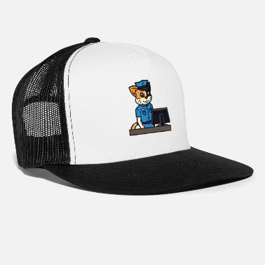 Police Station Cat policewoman police police station office profession - Trucker Cap