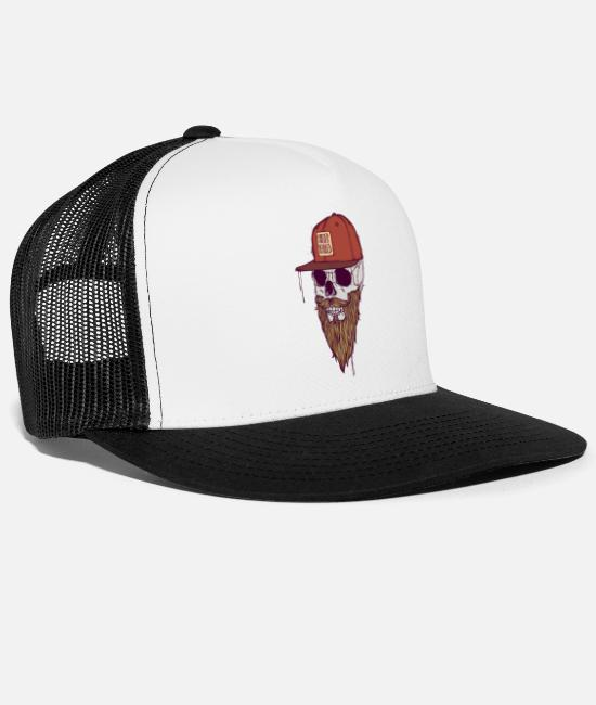 Hipster Caps & Hats - FOREVER BEARDED - Trucker Cap white/black