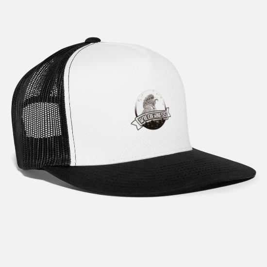 Travel Caps & Hats - Wilderness | Yolo Artwork - Trucker Cap white/black
