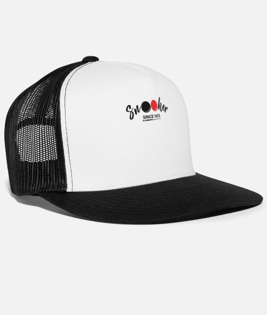 Cue Caps & Hats - Snooker Since 1875 - Trucker Cap white/black