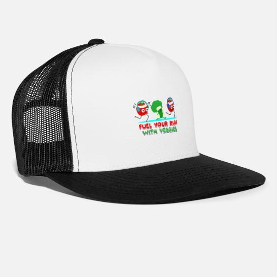 Triathlet Caps & Hats - Vegan vegetarian broccoli tomato run with music - Trucker Cap white/black