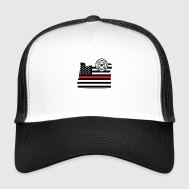 Oregon Firefighter Shield Thin Red Line Flag - Trucker Cap