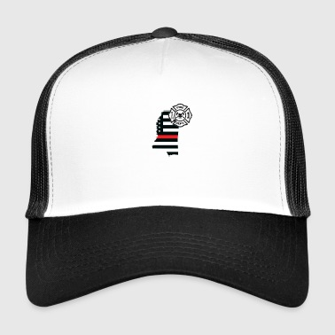 Mississippi Firefighter Shield Drapeau de la ligne rouge mince - Trucker Cap