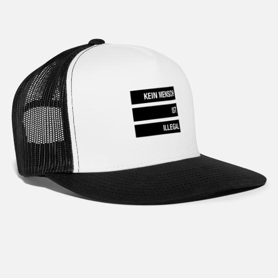 Racism Caps & Hats - No human being is illegal anti-racism - Trucker Cap white/black