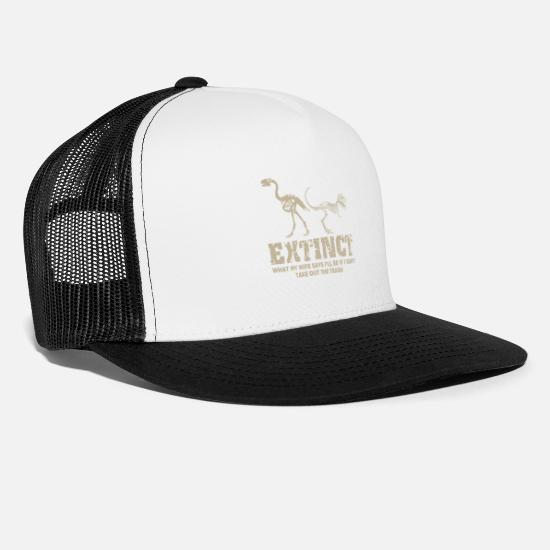 Birthday Caps & Hats - Dinosaur funny saying Extinct Wife - Trucker Cap white/black