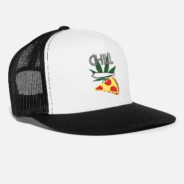 Bong Chill with joint pizza and hemp leaf stoner shirt - Trucker Cap
