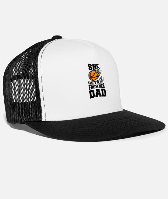 Father's Day Caps & Hats - She Gets it from Dad Funny Girls Basketball - Trucker Cap white/black