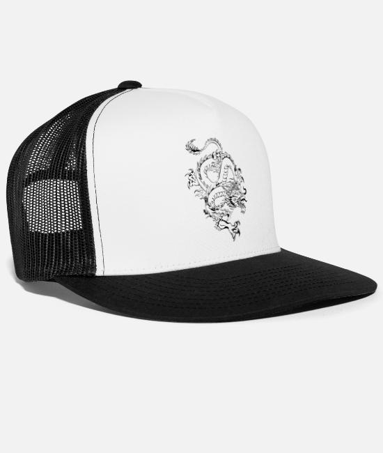 China Caps & Hats - Chinese Dragon 2 by DK - Trucker Cap white/black