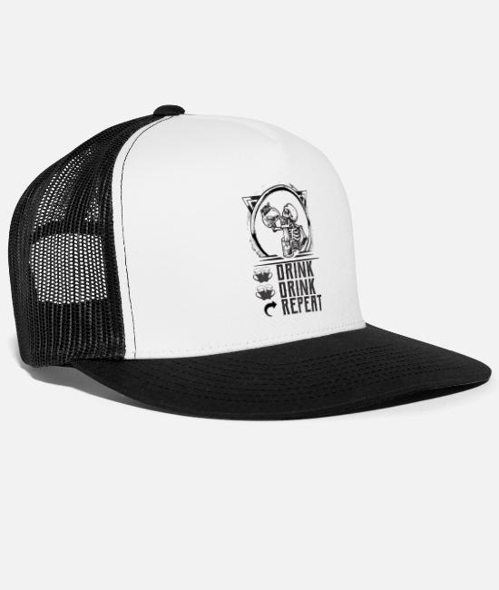 Pee Caps & Hats - DRINK DRINK REPEAT - Trucker Cap white/black