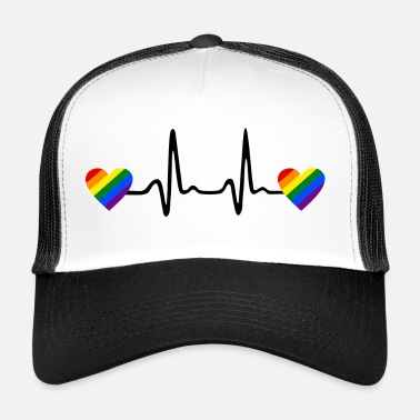 Gay Rainbow Hearts and Heartbeat, Gay ECG - Trucker Cap