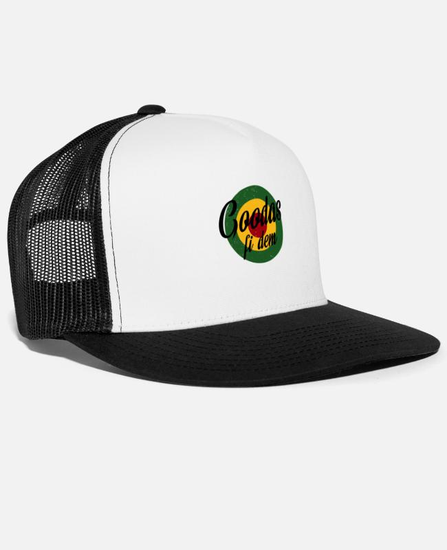 Rastafari Caps & Hats - Goodas fi dem - Trucker Cap white/black