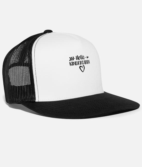 School Cone Caps & Hats - Hello kindergarten - kindergarten - Trucker Cap white/black