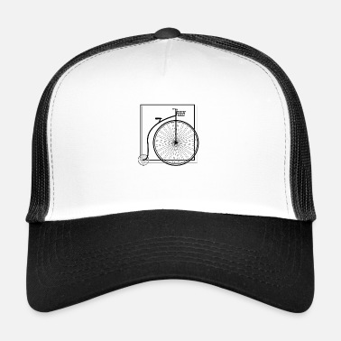 Bicycle High Wheel Black Frame Basket Gift - Trucker Cap