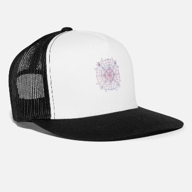 Pink Colorful Flowers & Hearts Mandala - Trucker Cap