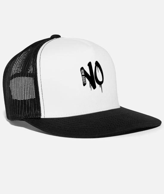 Cool Story Caps & Hats - reject stamp graffiti cool how about no saying - Trucker Cap white/black