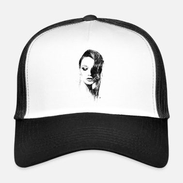 Illustration Illustration Illustration à l'encre en noir et blanc - Trucker Cap