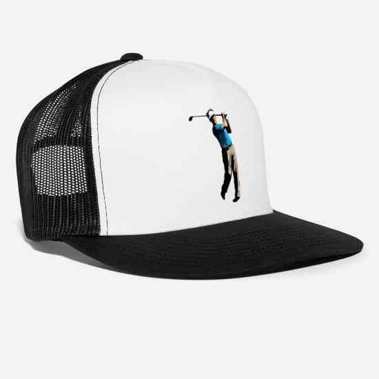 Gift Idea Caps & Hats - Golf golfer golf ball golf swing gift - Trucker Cap white/black