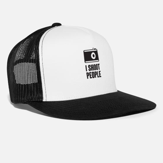 Snapchat Caps & Hats - And Shoot People - Trucker Cap white/black