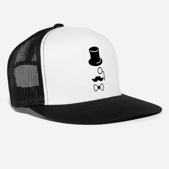Legend Caps & Hats - Gentleman mustache monocle beard cylinder glasses - Trucker Cap white/black