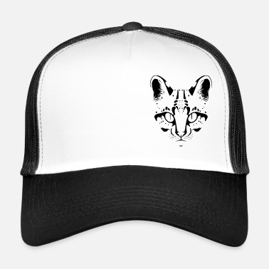 Ocelot Lineart in Black and White - Trucker Cap