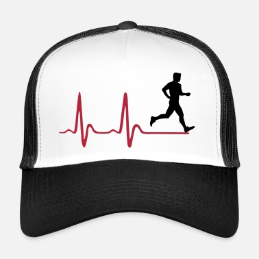 Run Running Man, runner & heartbeat - Trucker Cap