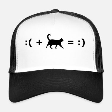 Happiness :( + Cat = :) Formula for happiness - Trucker Cap