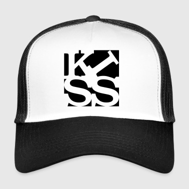 kiss homage to Robert Indiana black outside - Trucker Cap