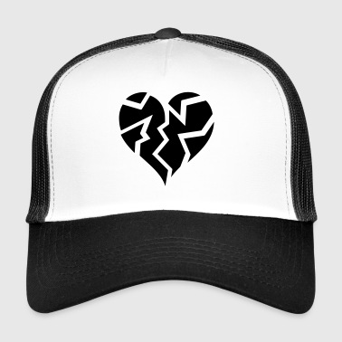 white outline blackheartbroken - Trucker Cap