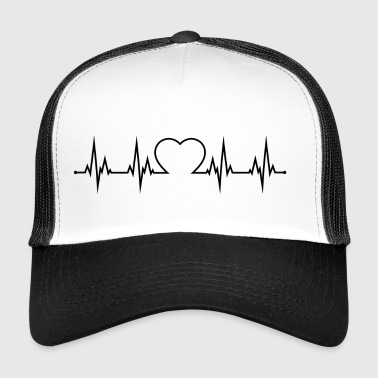 Herzschag with heart in the middle black - Trucker Cap