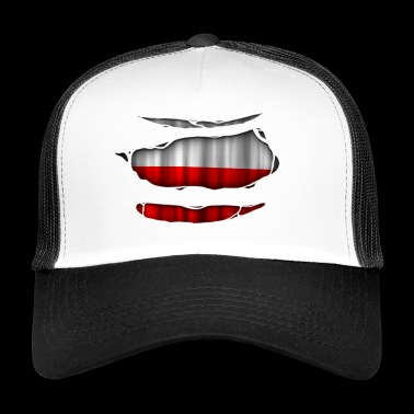 Poland flag torn 017 - Trucker Cap