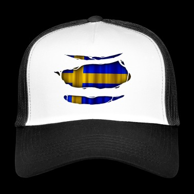 Sweden flag torn 017 - Trucker Cap