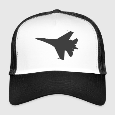 Military fighter jet plane jet silhouette - Trucker Cap