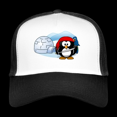 Pirate penguin with sword, parrot and igloo. - Trucker Cap