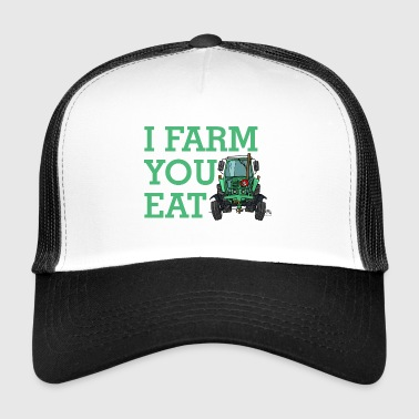 i_farm_you_eat_dark-png - Trucker Cap
