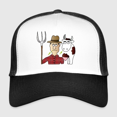 Peasant & Cow | Farmer | Cows Milking | pitchfork - Trucker Cap
