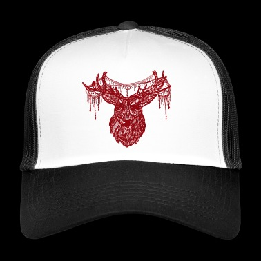 Deer Zentangle punainen - Trucker Cap