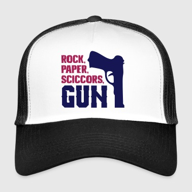 Funny rock paper scissors gun - Trucker Cap