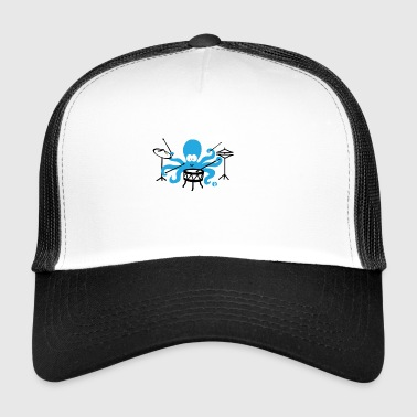 Funny squid drummer octopus drums - Trucker Cap