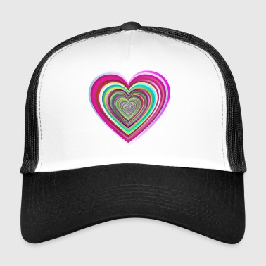 colorful heart with 3D effect - Trucker Cap