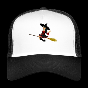 Witch on broom - Trucker Cap