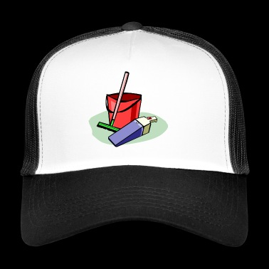 cleaning cleaning cleaning woman broom wischmop39 - Trucker Cap