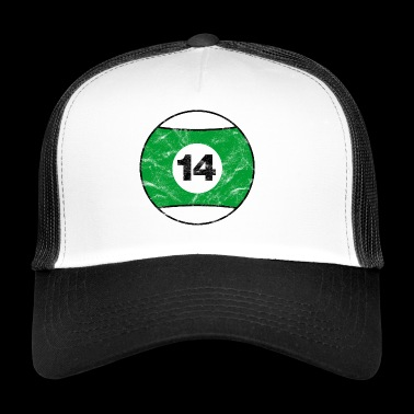 Billiards Billiard ball green fourteen vintage - Trucker Cap